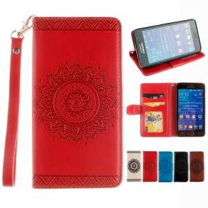 Embossing Wallet Leather Cover for Samsung Galaxy Grand Prime SM-G530 with Wrist Strap - Red