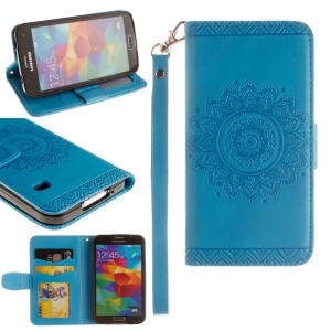 Embossing Flowers Pattern Leather Phone Case for Samsung Galaxy S5 G900 - Blue