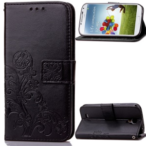 Imprinted Four-leaf Clovers Leather Wallet Cover for Samsung Galaxy S4 mini i9190 - Black