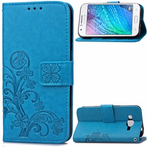 Beautiful Flowers Magnetic Leather Wallet Case for Samsung Galaxy J1 (2016) - Blue