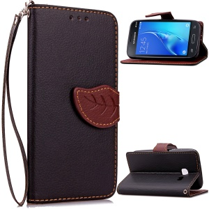 Leaf Shape Magnetic Flap Leather Wallet Case for Samsung Galaxy J1 Mini - Black
