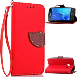 Leaf Shape Magnetic Flap Leather Wallet Cover for Samsung Galaxy J1 Mini - Red