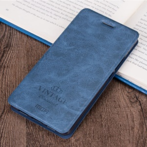 MOFI Faux Leather Stand Case with Card Holder for Samsung Galaxy C7 - Blue