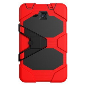 Military Duty PC Silicone Protection Shell for Samsung Galaxy Tab A 7.0 T280 T285 with Kickstand - Red