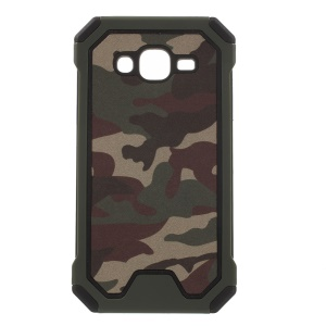 Camouflage Leather Coated PC TPU Combo Case for Samsung Galaxy J5 SM-J500F - Army Green