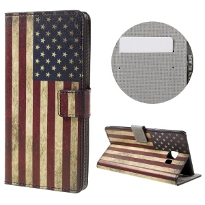 Patterned Leather Stand Case for Samsung Galaxy C7 - Vintage US Flag