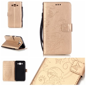 Butterfly Flower Leather Phone Shell for Samsung Galaxy J7 SM-J700F - Gold