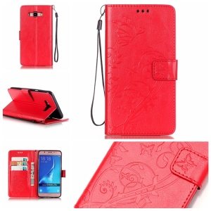 Imprint Butterfly Flower Wallet Leather Shell for Samsung Galaxy J7 (2016) - Red