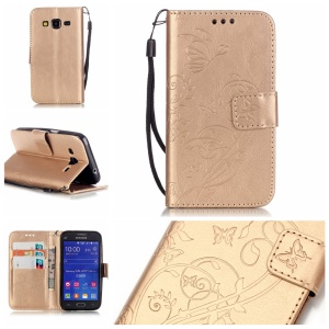 Butterfly Floral Leather Magnetic Case for Samsung Galaxy Core Prime G360 - Gold