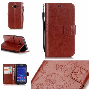 Butterfly Floral Leather Magnetic Cover for Samsung Galaxy Core Prime G360 - Brown