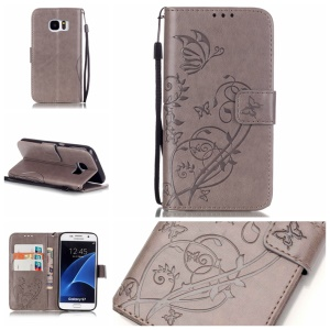 Butterfly Floral Wallet Leather Cover for Samsung Galaxy S7 G930 - Grey