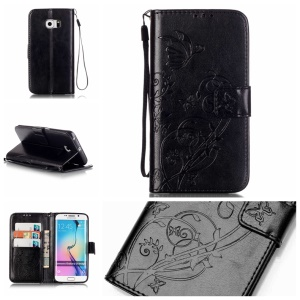 Imprinted Butterfly Flip Leather Wallet Case for Samsung Galaxy S6 Edge G925 - Black