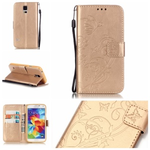 Butterfly and Vine Leather Wallet Protection Case for Samsung Galaxy S5 G900 - Gold
