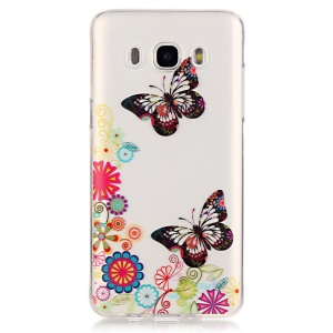 Transparent IMD TPU Back Cover for Samsung Galaxy J7 (2016) - Butterfly and Flower