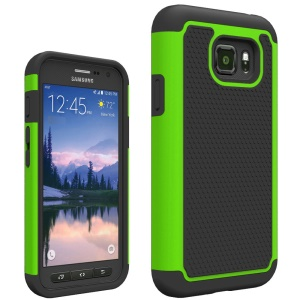 Football Grain PC + Silicone Hybrid Case Cover for Samsung Galaxy S7 Active - Green