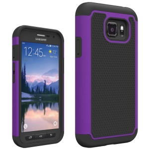 Football Grain PC + Silicone Hybrid Shell Cover for Samsung Galaxy S7 Active - Purple