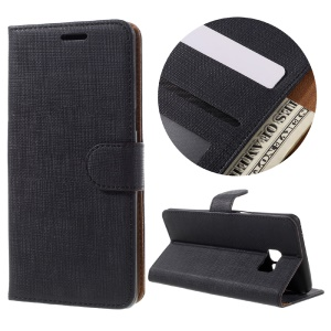 Cloth Grain Flip Leather Wallet Stand Cover for Samsung Galaxy Note6 - Black