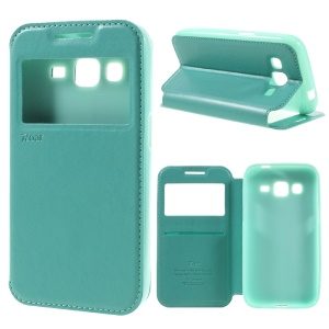 ROAR KOREA Window View Phone Leather Stand Case for Samsung Galaxy Core Prime SM-G360 - Cyan