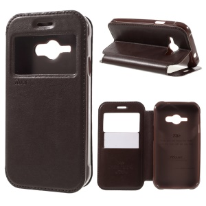 ROAR KOREA Window View Leather Stand Case with Card Slot for Samsung Galaxy J1 Ace SM-J110 - Brown
