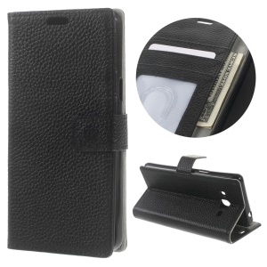 Litchi Grain Genuine Leather Wallet Stand Case for Samsung Galaxy J3 Pro - Black