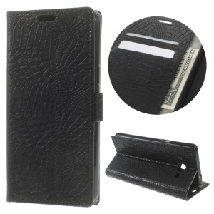 Crocodile Skin Wallet Stand Leather Case for Samsung Galaxy J3 Pro - Black