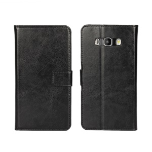 Crazy Horse Leather Wallet Case for Samsung Galaxy J7 (2016) - Black