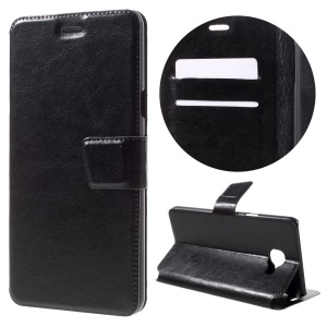 For Samsung Galaxy C7 Crazy Horse Leather Case Stand Card Holder - Black