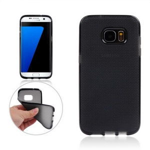 Woven Pattern Soft TPU Case for Samsung Galaxy S7 edge G935 - Black