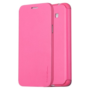 X-LEVEL Slim Flip Stand Leather Phone Case for Samsung Galaxy Grand 3 G7200 - Rose