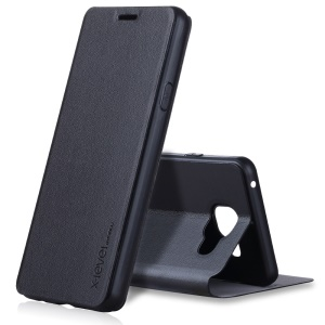 X-LEVEL Slim Flip Leather Stand Case for Samsung Galaxy A3 SM-A310F (2016) - Black