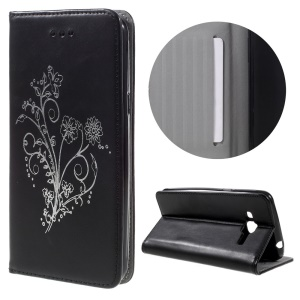 Retro Style Flower Leather Stand Case for Samsung Galaxy J3 / J3 (2016) - Black