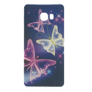 Air Cushion Soft TPU Drop-proof Case for Samsung Galaxy C7 - Shiny Butterflies