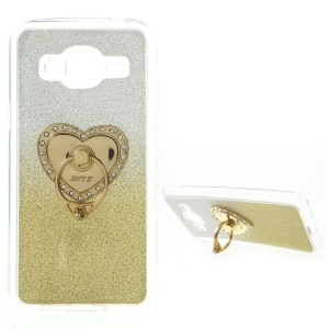 Gradient Glittery Powder TPU Back Case with Kickstand for Samsung Galaxy J3 / J3 (2016) / J3 - Gold