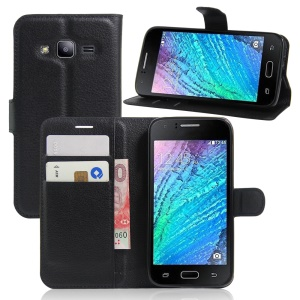 Litchi Texture Wallet Stand Leather Case for Samsung Galaxy J2 Pro / J2 (2016) - Black