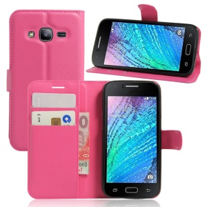 Litchi Skin Wallet Stand Leather Case for Samsung Galaxy J2 Pro / J2 (2016) - Rose