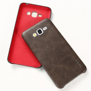 X-LEVEL Vintage Series Leather Coated Hard Case Cover for Samsung Galaxy Grand Prime SM-G530 - Coffee