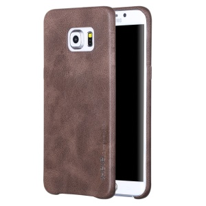 X-LEVEL Vintage Series PU Leather Skin Hard Cover Case for Samsung Galaxy S6 Edge G925 - Coffee