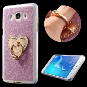 Glittery Powder TPU Gel Kickstand Case Cover for Samsung Galaxy J5 SM-J510 (2016) - Pink