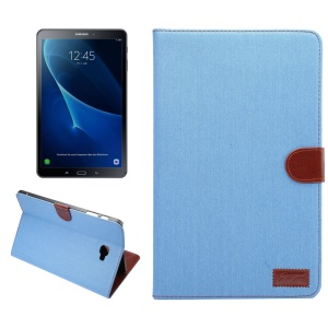 Jeans Cloth Coated Leather Wallet Stand Protective Case for Samsung Galaxy Tab A 10.1 (2016) T580 T585 - Baby Blue