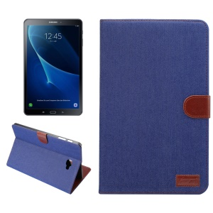 Jeans Cloth Coated Leather Wallet Stand Protective Cover for Samsung Galaxy Tab A 10.1 (2016) T580 T585 - Dark Blue