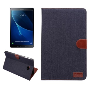 Jeans Cloth Coated Leather Wallet Stand Protective Shell for Samsung Galaxy Tab A 10.1 (2016) T580 T585 - Black Blue