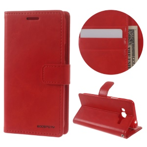 MERCURY GOOSPERY Blue Moon Wallet Leather Cover for Samsung Galaxy J3 (2016) / J3 - Red
