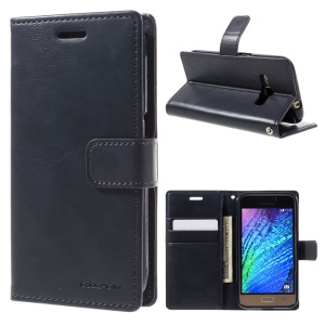 MERCURY GOOSPERY Blue Moon Stand Leather Wallet Shell for Samsung Galaxy J1 (2016) - Dark Blue