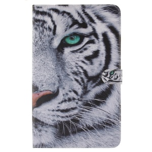 Leather Wallet Stand Case for Samsung Galaxy Tab A 10.1 (2016) T580 T585 - Tiger with Green Eye