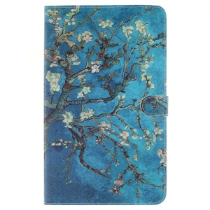 Leather Wallet Stand Shell for Samsung Galaxy Tab A 10.1 (2016) T580 T585 - Almond Tree in Blossom