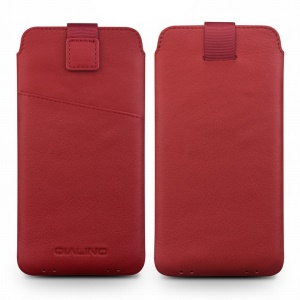 QIALINO Nappa Leather Pouch Cover with Card Slot for Samsung Note7/S7/Note5/S6 Etc - Red