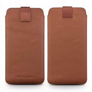 QIALINO Genuine Leather Pouch Case Card Holder for Samsung Note7/S7/Note5/S6 Etc - Brown