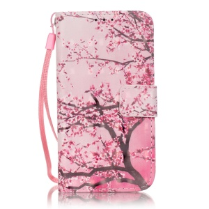 Illustration Leather Folio Case for Samsung Galaxy Core Prime SM-G360 -  Pink Flower Tree