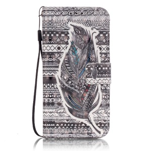 Patterned Leather Wallet Stand Case for Samsung Galaxy S7 G930 - Tribal Pattern and Feather