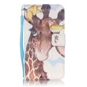 Patterned Leather Flip Case for Samsung Galaxy S5 G900 - Two Birds and Giraffe Head